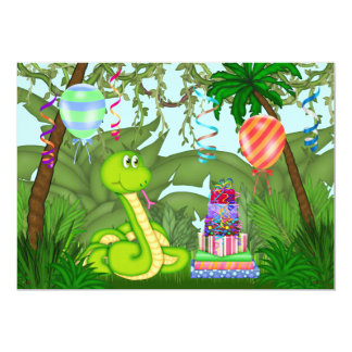 Jungle Green Snake Birthday Party Invitation