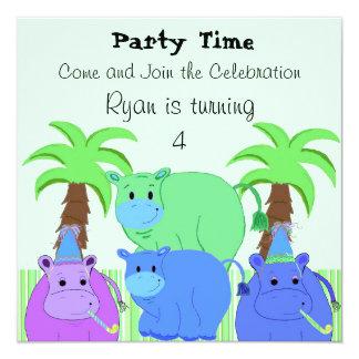 Jungle Hippo Birthday Invitation