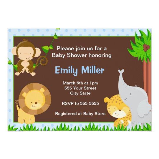 Jungle Invitation Baby Boy Shower Blue
