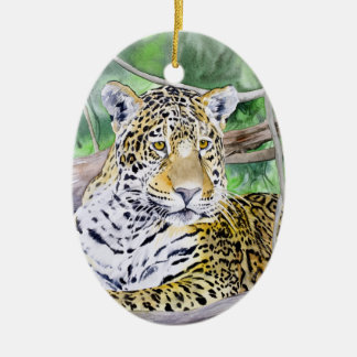 Jungle Jaguar Watercolor Fine Art Christmas Ornament