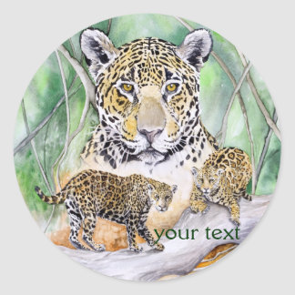 Jungle Jaguar Watercolor Fine Art Classic Round Sticker