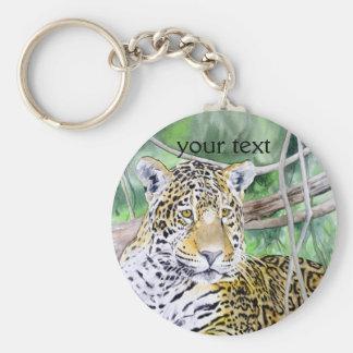 Jungle Jaguar Watercolor Fine Art Key Ring