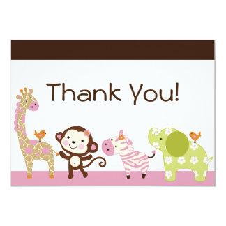 Jungle Jill / Cute Animals Thank You Card 13 Cm X 18 Cm Invitation Card