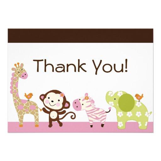 Jungle Jill / Cute Animals Thank You Card Personalized Invitations
