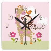 Jungle Jill/Girl Animal Kid's BabyNursery Clock