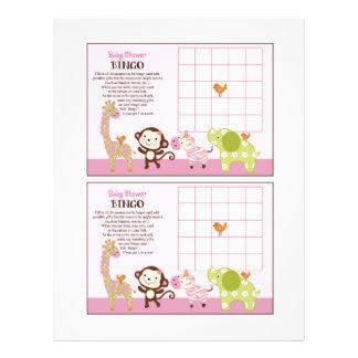 "Jungle Jill Girl Animals ""Baby Shower Bingo"" sheet 21.5 Cm X 28 Cm Flyer"