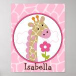 Jungle Jill /Girl Giraffe Personalised Art Poster