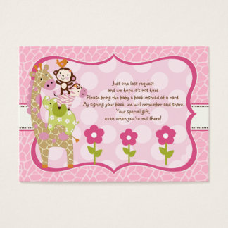 Jungle Jill Girl Stacked Animals Favor Book Tag Business Card