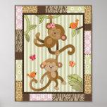 Jungle Jill Monkeys Baby Girl Nursery Art