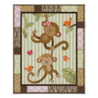 Jungle Jill Monkeys Baby Girl Nursery Art Poster