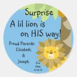 Jungle King Lion Blue Sky Surprise Baby Zoo Safari Round Stickers
