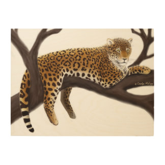 Jungle Leopard at Rest Wood Wall Art Wood Canvases