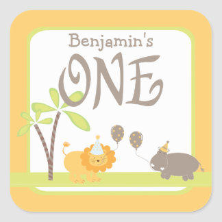 Jungle Lion and Hippo 1st Birthday Square Sticker