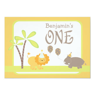 Jungle Lion and Hippo First Birthday Party Card