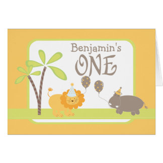 Jungle Lion and Hippo Happy 1st Birthday Greeting Card