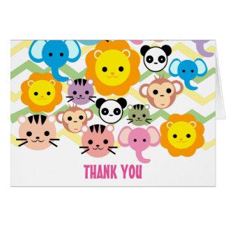 jungle, lion, tiger, elephant, thank you card