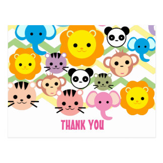 jungle, lion, tiger, elephant, thank you card postcard