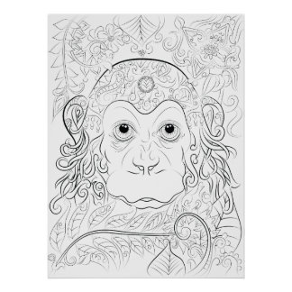 Jungle monkey adult colouring poster