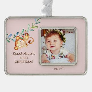 Jungle Monkey  Baby's 1st Christmas Photo Ornament