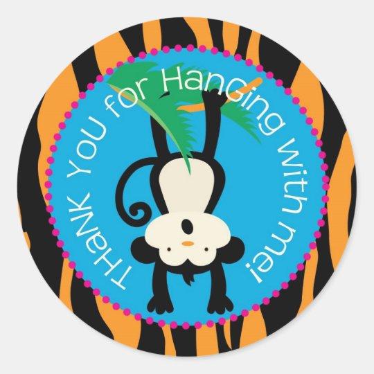 Jungle Monkey Birthday Gift Label Wild