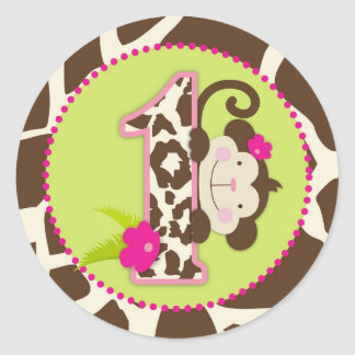 Jungle Monkey First Birthday Cupcake Topper Pink Classic Round Sticker