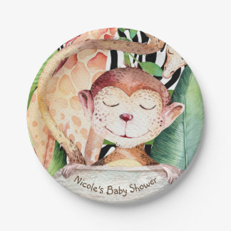 Jungle Monkey & Giraffe Baby Shower Animal Print Paper Plate