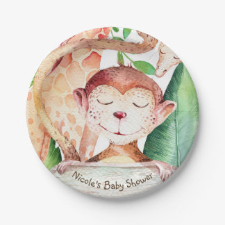 Jungle Monkey & Giraffe Baby Shower Party Custom Paper Plate