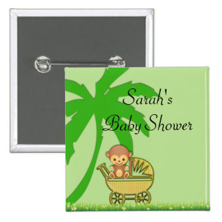 Jungle Monkey In Baby Carriage Baby Shower Pinback Buttons