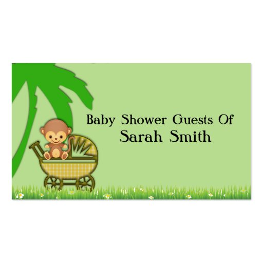 Jungle Monkey In Baby Carriage Baby Shower Business Cards