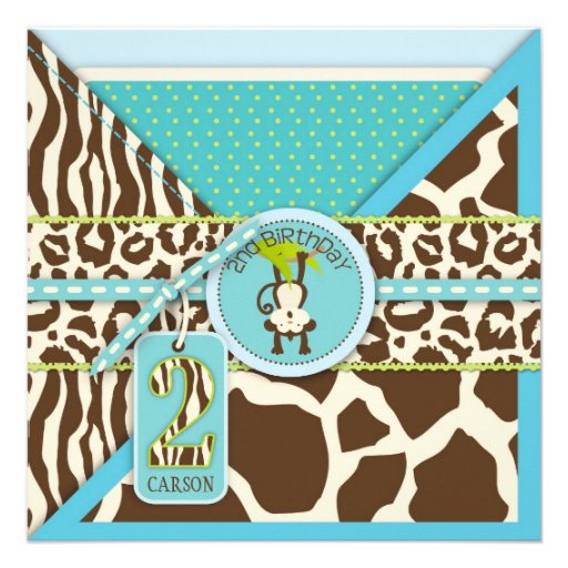 Jungle Monkey Second Birthday Invitation Blue