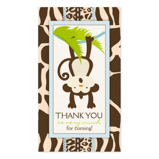 Jungle Monkey Thank You Gift Tag Business Cards