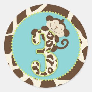 Jungle Monkey Third Birthday Cupcake Topper Blue Round Sticker