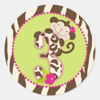 Jungle Monkey Third Birthday Cupcake Topper Pink Round Sticker