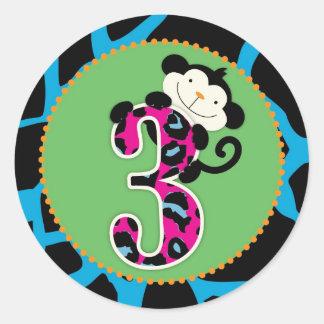 Jungle Monkey Third Birthday Cupcake Topper Wild Round Sticker