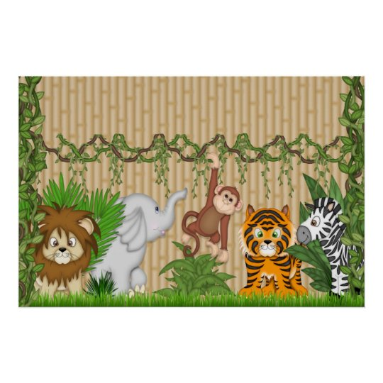 Jungle Monkey Tiger Wall Mural Poster baby Nursery