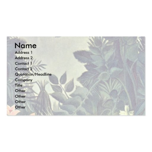 Jungle On The Equator By Rousseau Henri Business Card Template