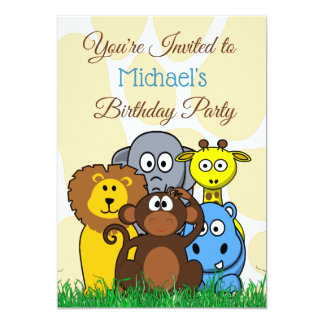 Jungle or Zoo Animals Themed Birthday Party Invite