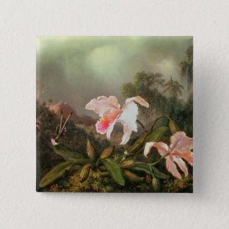 Jungle orchids and hummingbirds, 1872 15 cm square badge