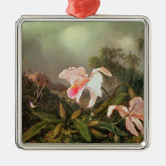 Jungle orchids and hummingbirds, 1872 Silver-Colored square decoration