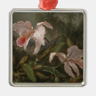 Jungle Orchids and Hummingbirds Christmas Ornament