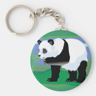 Jungle Panda Bear Basic Round Button Key Ring