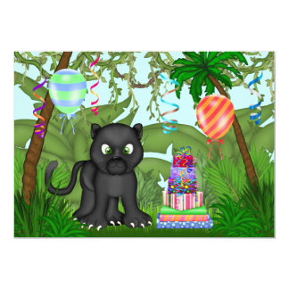 Jungle Panther Birthday Party Invitation