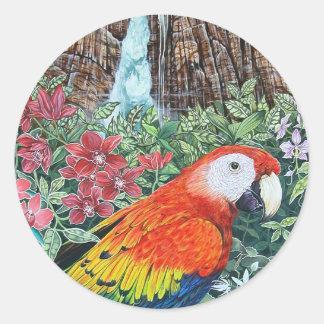 Jungle Parrot Classic Round Sticker