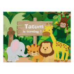 Jungle Party personalised backdrop poster