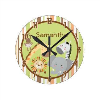 Jungle Play Safari Zoo Animal Personalized Clock