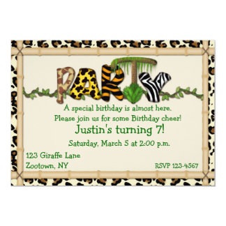 Jungle Print Birthday Party 13 Cm X 18 Cm Invitation Card