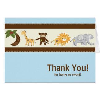 Jungle Safari Animal Blue Boy Baby Shower Card