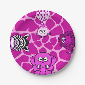 Jungle safari animal girl baby shower birthday paper plate