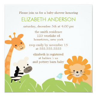 Jungle Safari Animals Baby Shower 13 Cm X 13 Cm Square Invitation Card