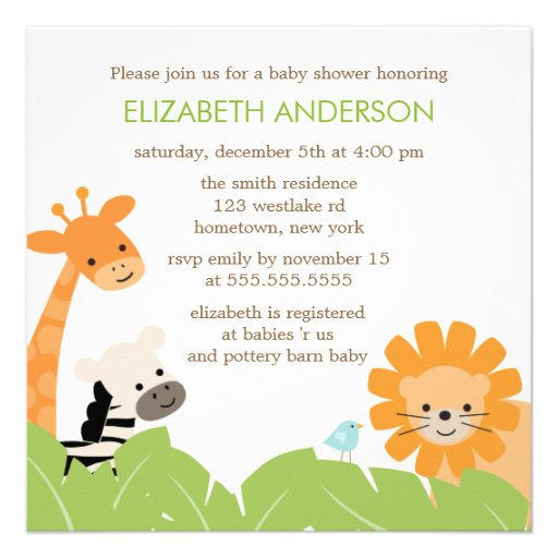 Jungle Safari Animals Baby Shower Custom Invitations